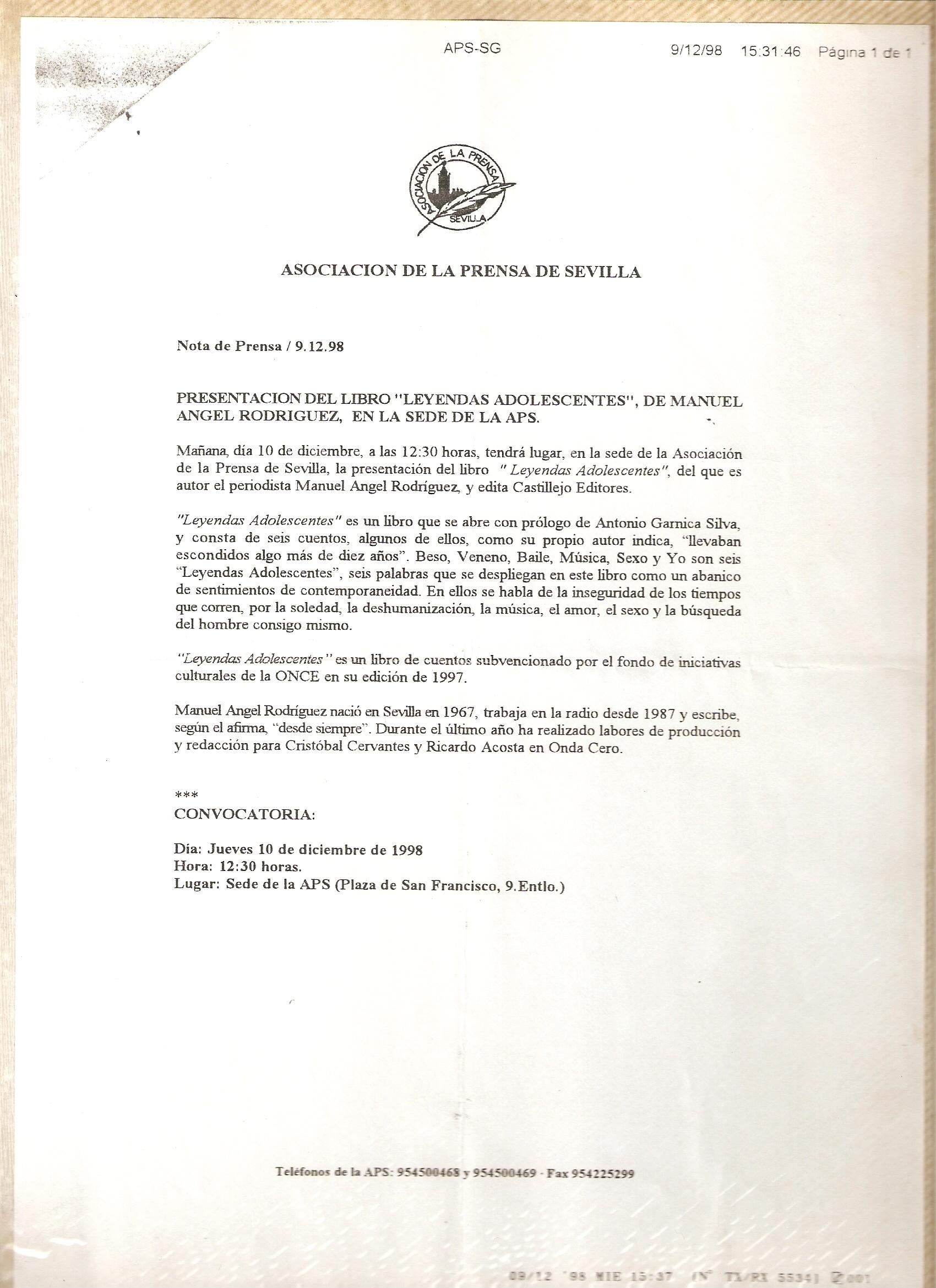 Asociación de la Prensa de Sevilla - nota de prensa 9/12/1998